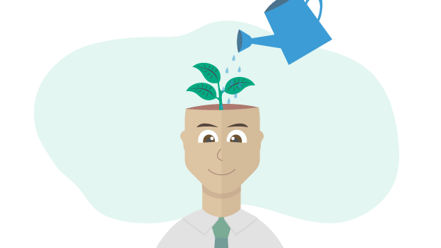 Illustration of a man with a plant on his head
