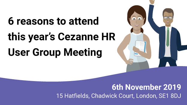 Illustration of two employees and the date and venue of the Cezanne HR user group event